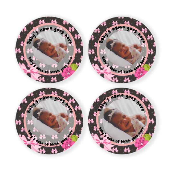 "Baby Pink - 90mm/3.5"" round coaster set"
