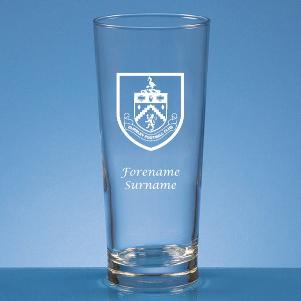 Burnley FC Crest Straight Sided Beer Glass