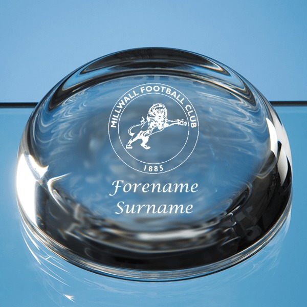 Millwall FC Crest Optical Crystal Flat Top Dome Paperweight