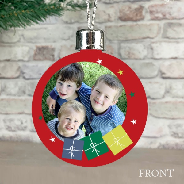 Merry Christmas Presents Red - Personalised Christmas Bauble