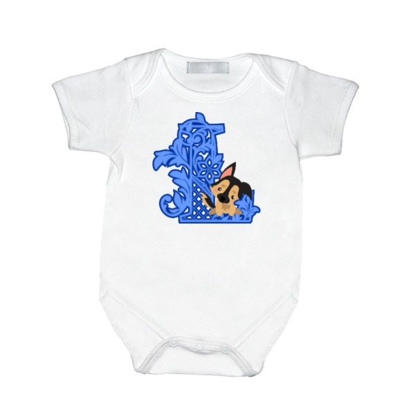 Sheppy Puppy with Letter - Baby One Piece