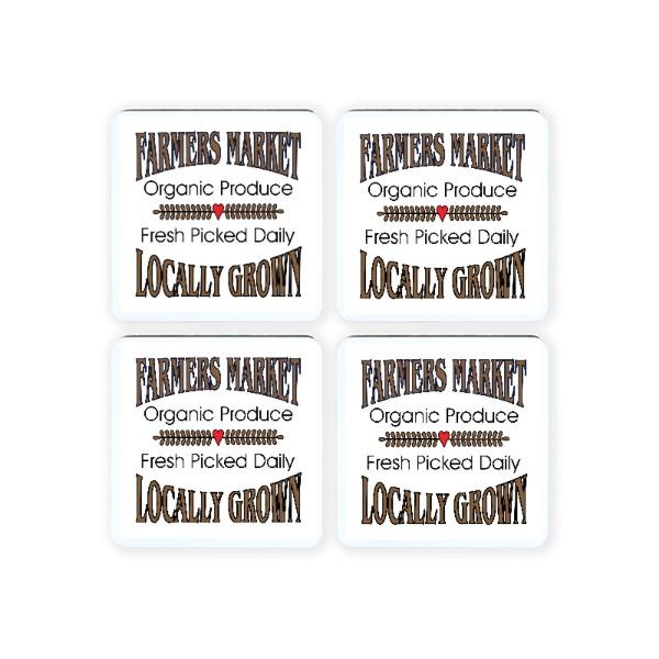 Farmer's Market Square Coasters - Square Coaster Set