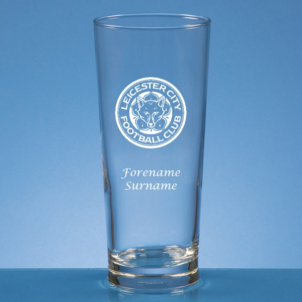 Leicester City FC Crest Straight Sided Beer Glass