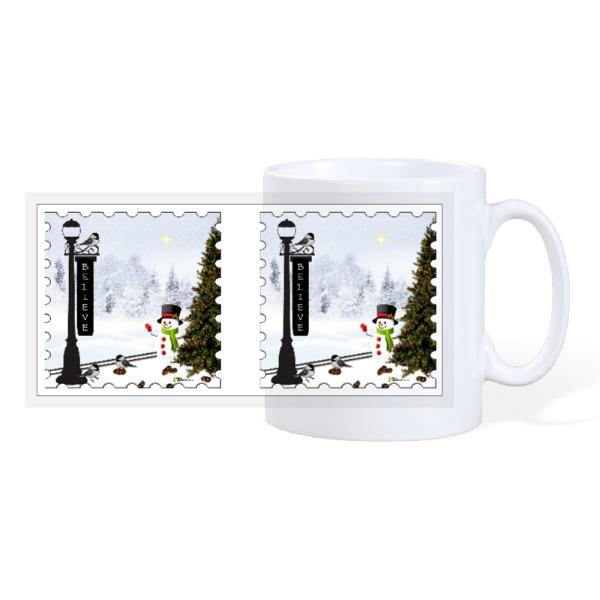Chickadee Pinecones Snowman - 10oz Ceramic Mug