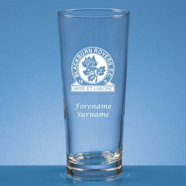 Blackburn Rovers FC Crest Straight Sided Beer Glass