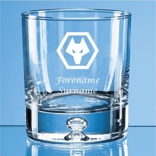 Wolves Crest Bubble Base Whisky Tumbler
