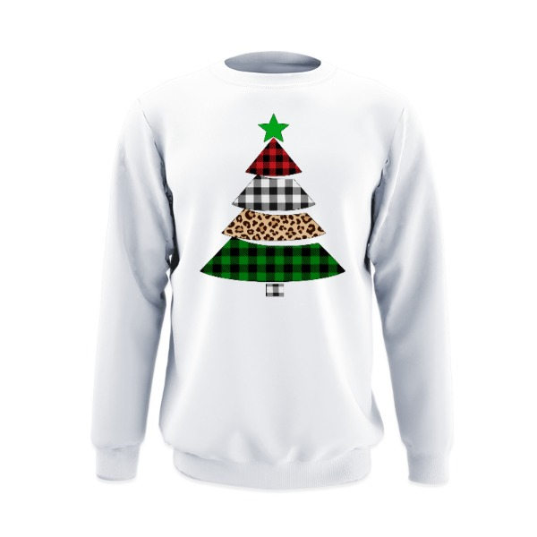 Printed Christmas Tree - Crew Sweatshirt Large Print Area
