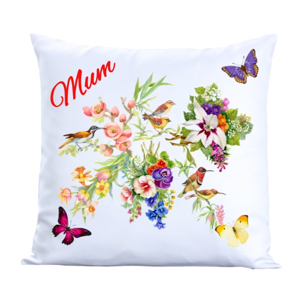 Butterflies in the garden pillow - Pillow Cover Polyester Canvas Square 40cm