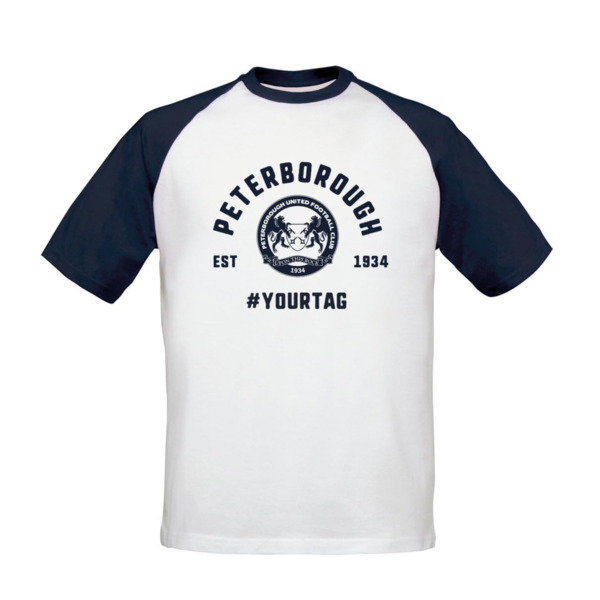 Peterborough United FC Vintage Hashtag Baseball T-Shirt