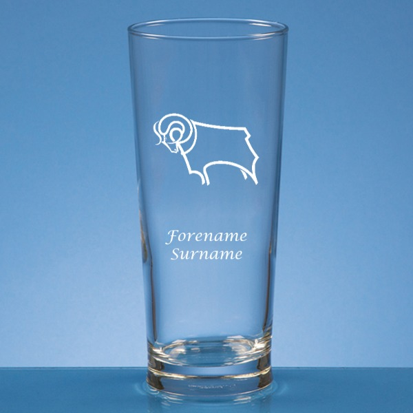 Derby County Crest Straight Sided Beer Glass