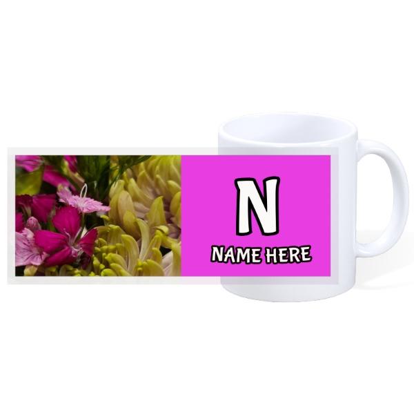 Custom flower mug (personalize) - 11oz Ceramic Mug