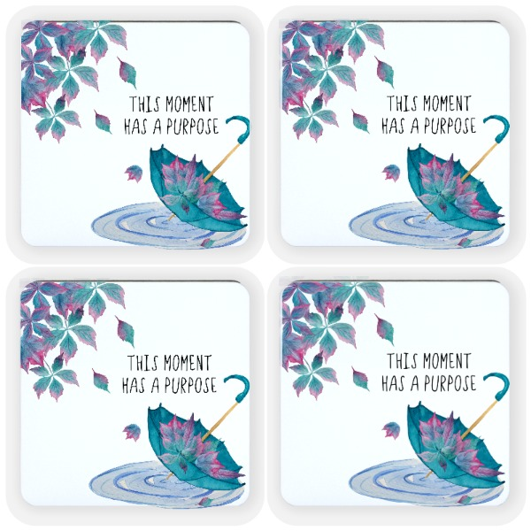 This moment has a purpose watercolor coasters - Square Coaster Set