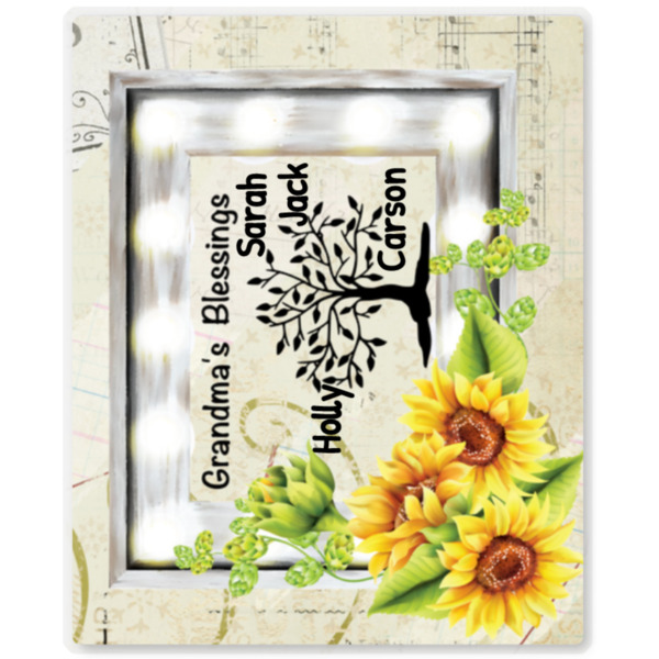 "Blessings Sunflower Theme - 10""x8""w/ Kickstand Wood Gloss White/Black Back ChromaLuxe"
