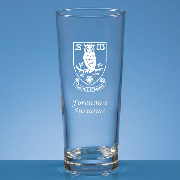 Sheffield Wednesday FC Crest Straight Sided Beer Glass