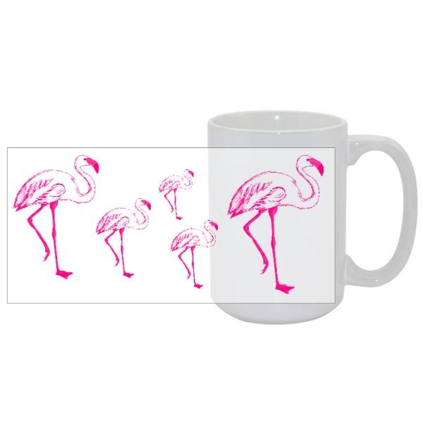 Flamingo Pattern Mug - Mug Ceramic White 15oz