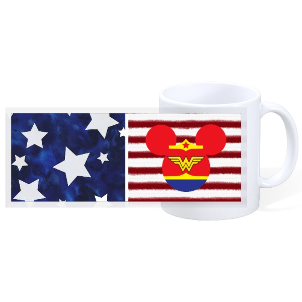 Flag mug with Wonder Women  - 11oz Ceramic Mug