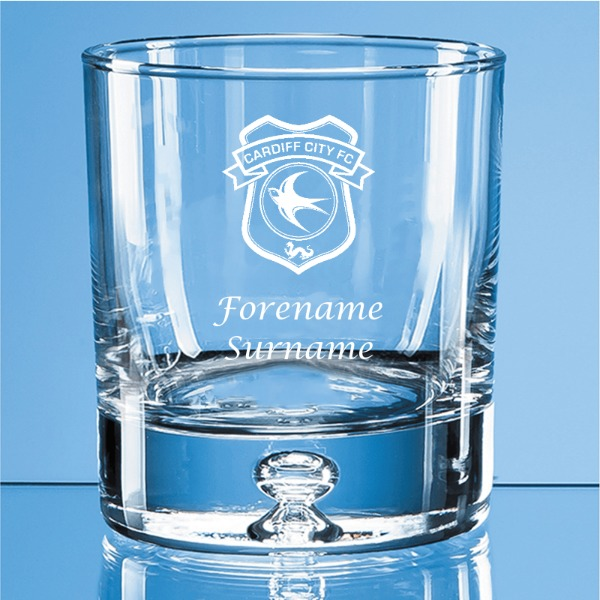 Cardiff City FC Crest Bubble Base Whisky Tumbler