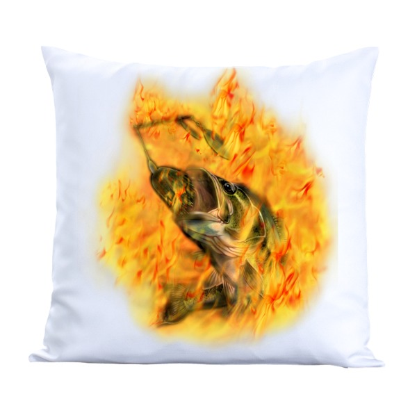 Bass on Fire-Pillow Cover Polyester Canvas Square 40cm