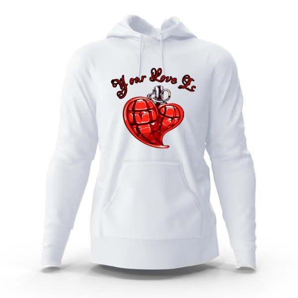 YOUR LOVE IS BOMB - Hoody Sweatshirt Large Print Area