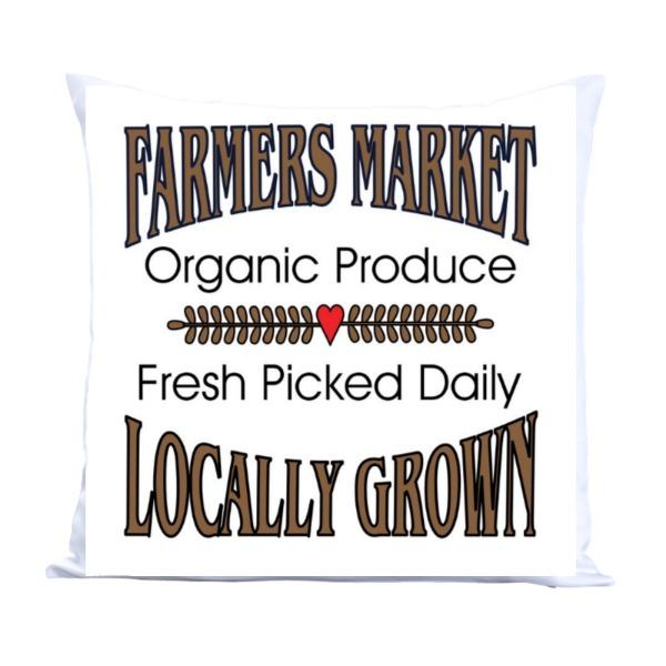 Farmer's Market Pillow - Pillow Cover Polyester Canvas Square 40cm