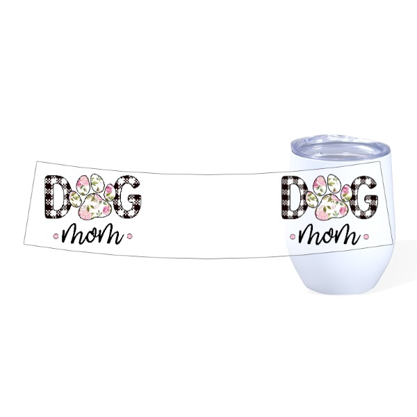 Dog Mom Pink Floral - Travel Wine Cup Stainless Steel White 12oz