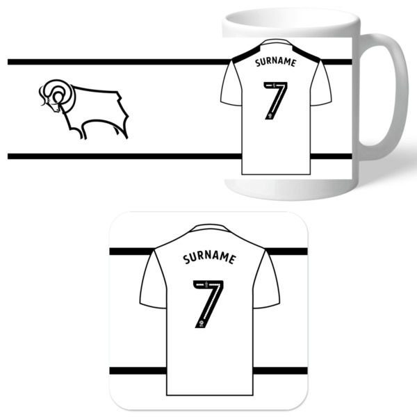PERSONALISED Derby County Shirt Mug & Coaster Set Xmas Football Gift