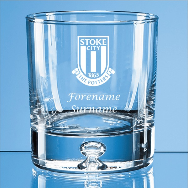 Stoke City FC Crest Bubble Base Whisky Tumbler