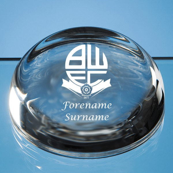 Bolton Wanderers FC Crest Optical Crystal Paperweight