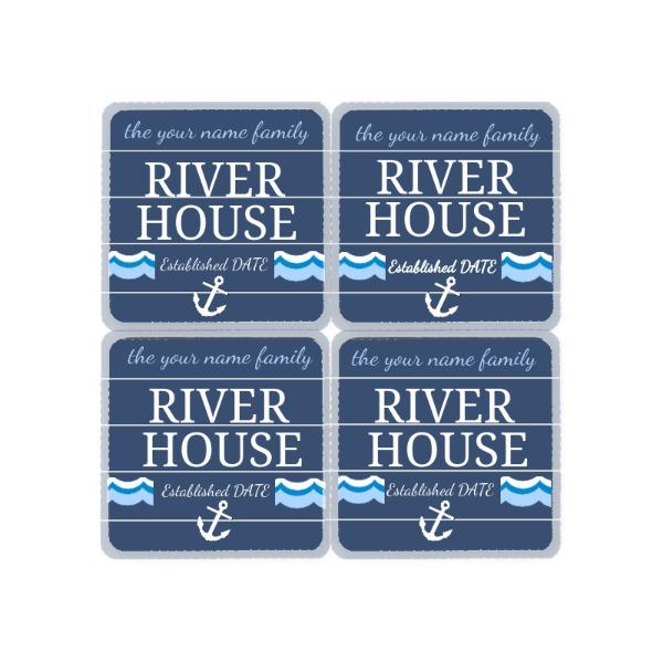 """River House Coasters - River House Coasters - Hardboard Coaster_4 - Hardboard Coaster-2 - Hardboard Coaster1 - 3.543"""" x 3.543"""" / 90 x 90 mm Coasters Square Gloss White/Raw Back THB Unisub"""
