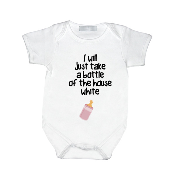 House White Pink - House White Girl - Baby One Piece