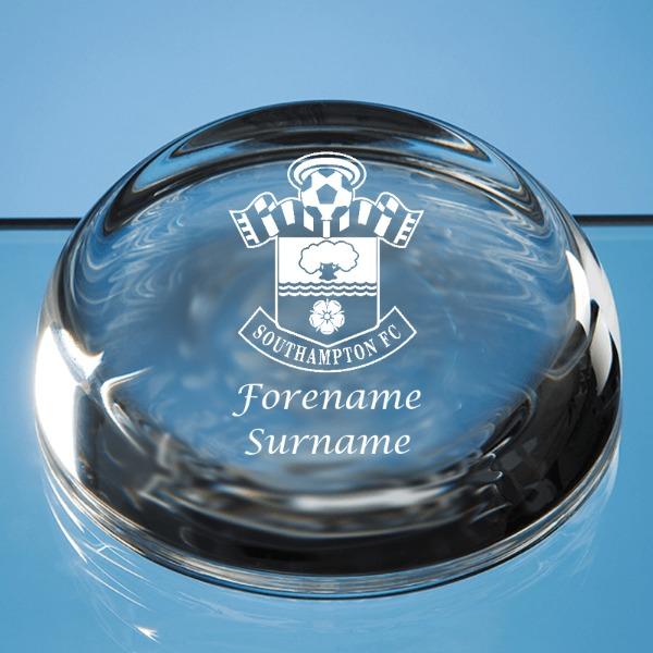 Southampton FC Personalised Crest Optical Dome Paperweight