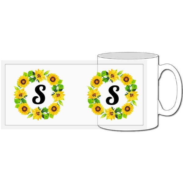 Sunflower Wreath Mug - 10oz Ceramic Mug