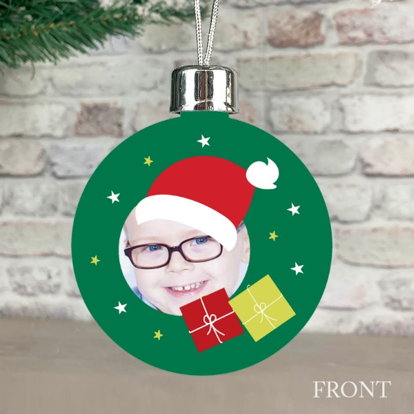Santa Festive Wishes Green - Personalised Christmas Bauble