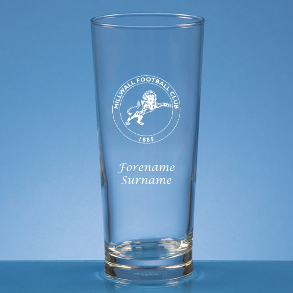 Millwall FC Crest Straight Sided Beer Glass