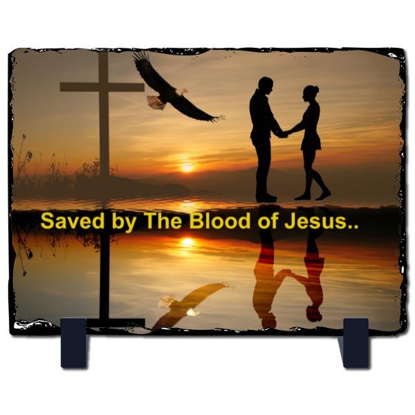 Saved by Jesus - Slate Photo Panel Stone Rectangle