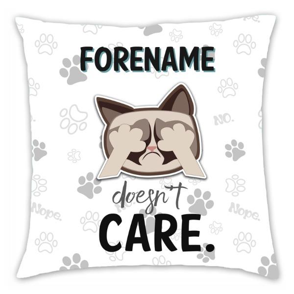 Grumpy Cat Emoji - Doesn't Care Cushion Grey