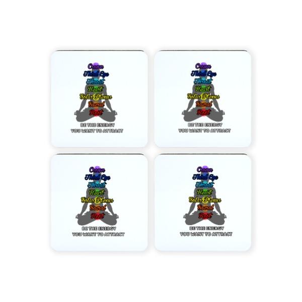 chakra reiki energy - Square Coaster Set