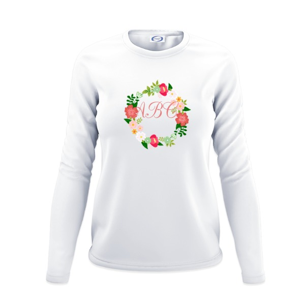 Floral Wreath with Monogram - Ladies Solar Long Sleeve Large Print Area