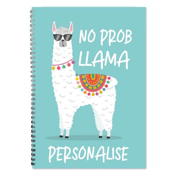 Personalised No Prob Llama A4 Lined Notepad