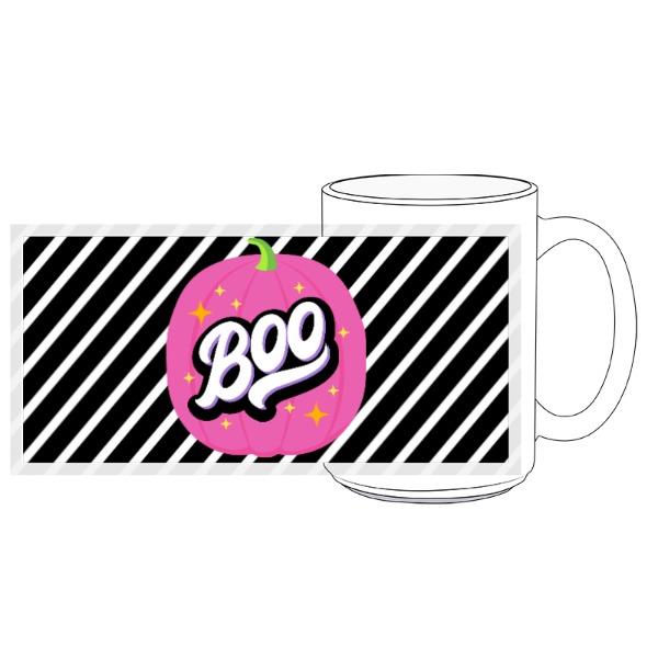 Pink Boo Stripe Mug - 15oz Ceramic Mug