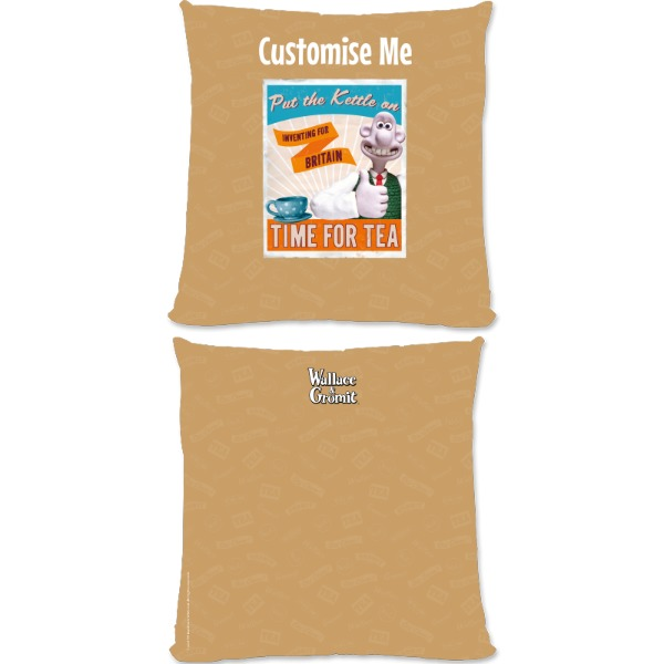 """Aardman Wallace And Gromit """"Put The Kettle On"""" Large Fiber Cushion"""