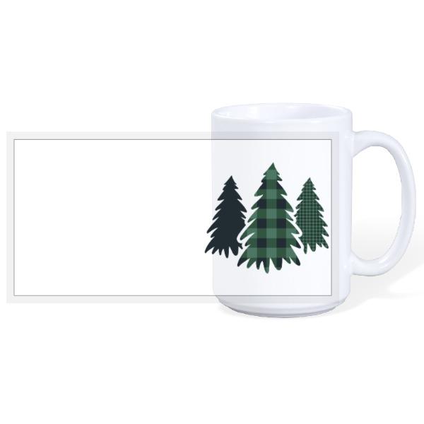 Plaid Pine Trees - 15oz Ceramic Mug