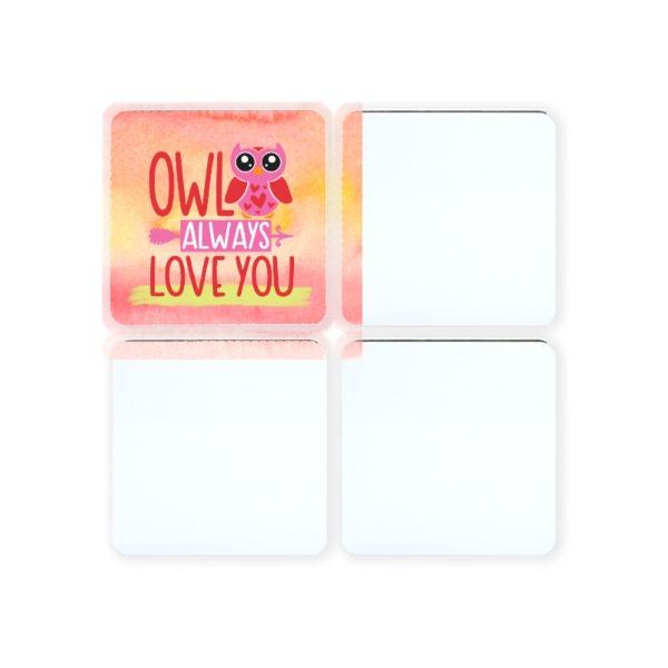 Coasters Square Gloss- White/Raw back