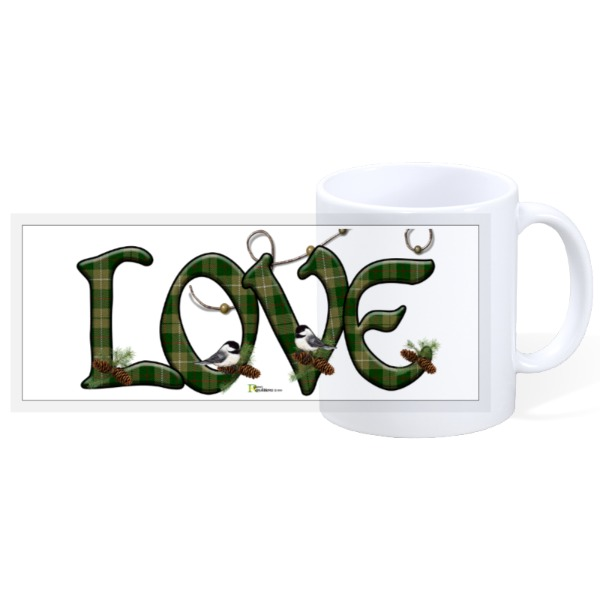 LOVE plaid, chickadee's & pinecones - 11oz Ceramic Mug