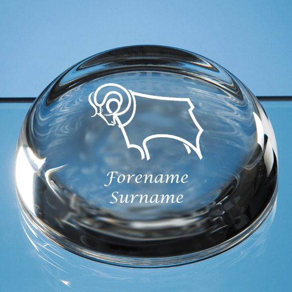Derby County Crest Optical Crystal Flat Top Dome Paperweight