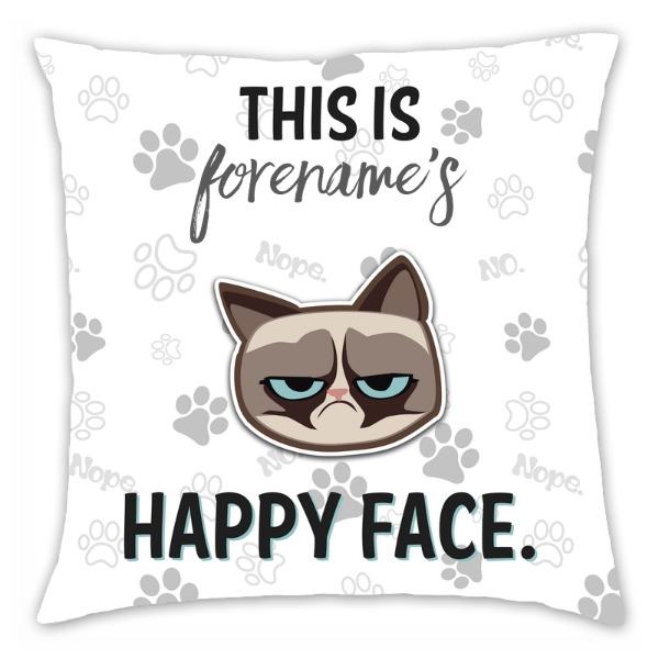 Grumpy Cat Emoji - Happy Face Cushion Grey