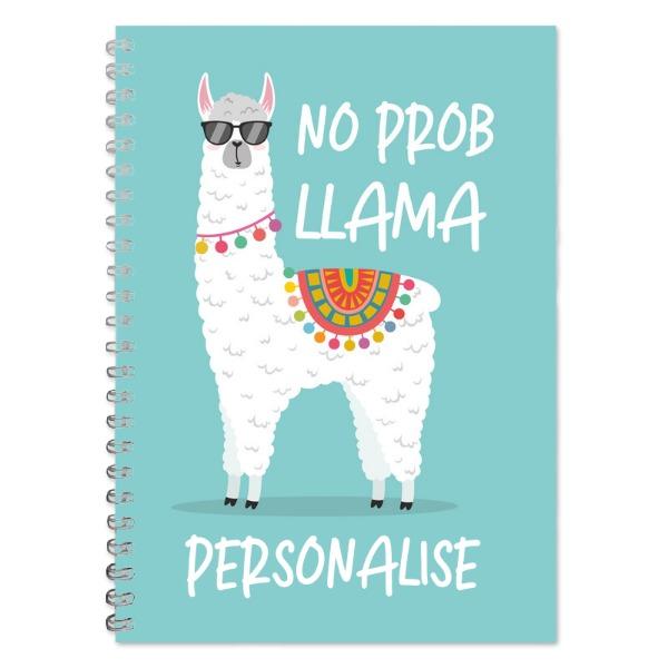 Personalised No Prob Llama A5 Lined Notepad
