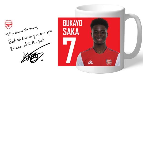 Arsenal FC Saka Autograph Mug