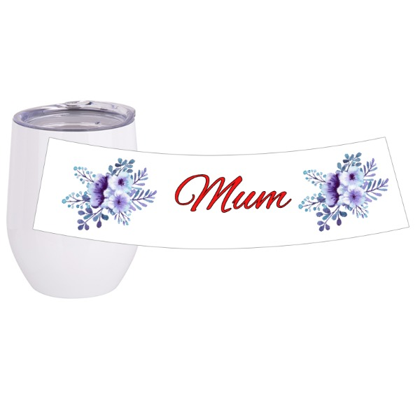 Flower travel/wine cup - Travel Wine Cup Stainless Steel White 12oz