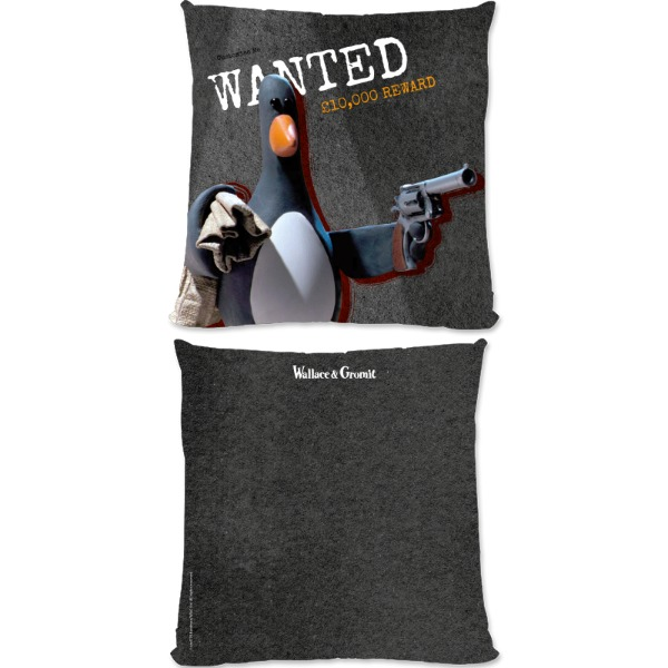 "Aardman Wallace And Gromit Feathers ""Wanted"" Large Fiber Cushion"